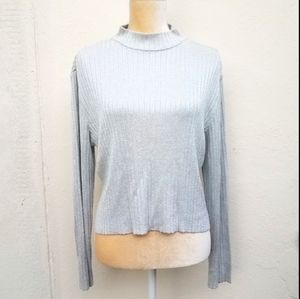 St. John collection silver ribbed sweater size med